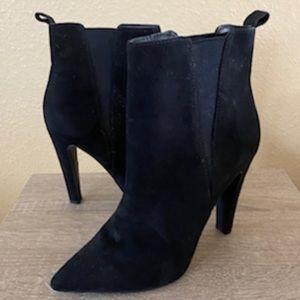 "CALL IT SPRING Faux Suede Heeled Ankle Booties Black 3"" Heel"